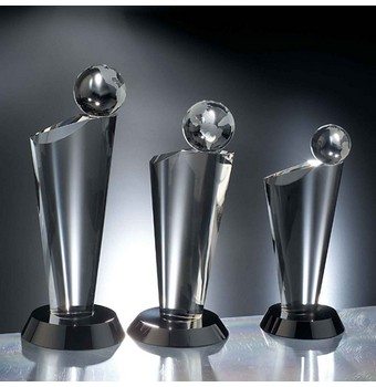 "CEQ308 - 8"" Equator Crystal Globe Award"