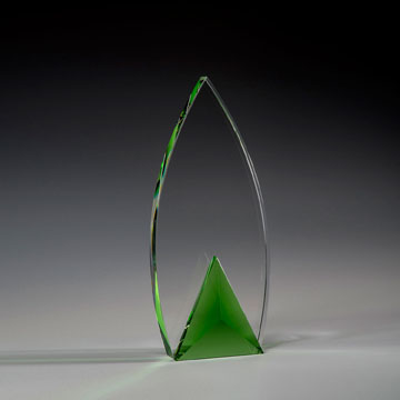"CFLC409 - 9 1/2"" Frolic Crystal Award with Green Triangle Accent"