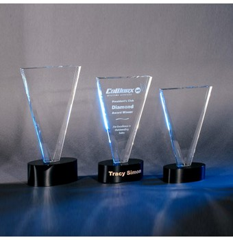 "CVCT412 - 12"" V Cut Crystal Award"