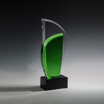 "HGLF310 - 10"" Green Leaf on Black Base Crystal Award"