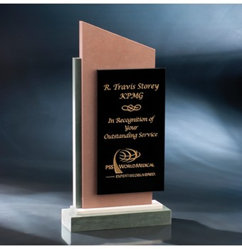 """HTTR611 - 11 1/2"""" Tip Top Recognition Crystal & Stone Award"""