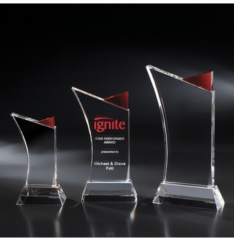 """NFY41RD - 11"""" Firefly Crystal Award w/ Red Accent"""