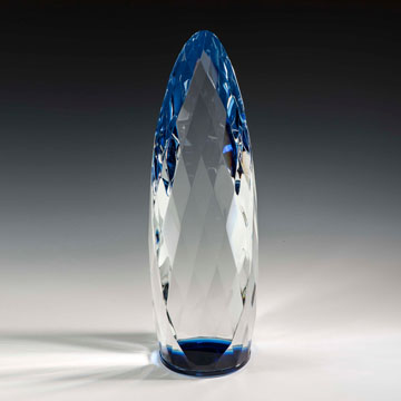 "NLQM410BU - 10"" Liquidum Crystal Award with Blue Accent"