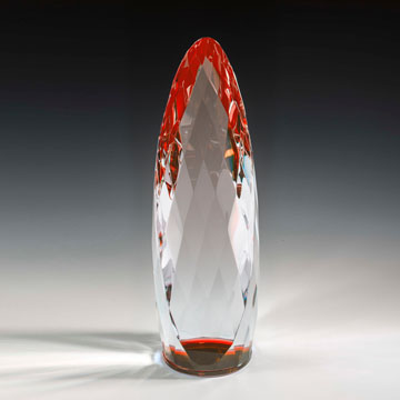 """NLQM414RD - 14"""" Liquidum Crystal Award with Red Accent"""