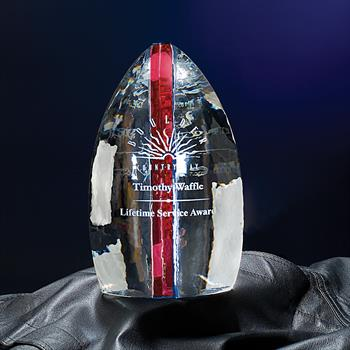 """NSL59RD - 9"""" Solitude Crystal Award with Red Accent"""