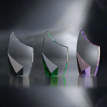"""STN48PP - 8"""" Trance Crystal Award with Purple Accent"""