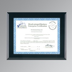 "Black Glass Certificate Frame w/Wall Mount (8 1/2""x11"" Certificate)"