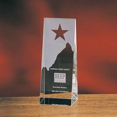 "8"" Star On Wedge Crystal Star Award"