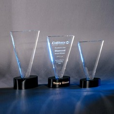 "11"" V Cut Crystal Award"
