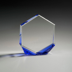 """6"""" Bromium Crystal Award with Blue Accent"""