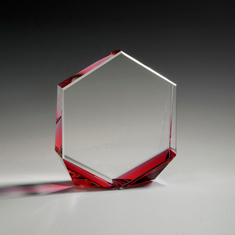 "6"" Bromium Crystal Award with Red Accent"