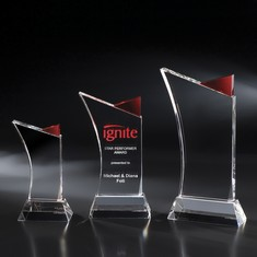 "11"" Firefly Crystal Award w/Red Accent"